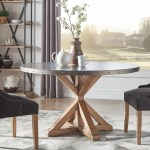 Albee Round Stainless Steel Top Dining Table With Poplar X Base By Inspire Q Artisan Round Stainless Steel Dining Table On Sale Overstock 25443782