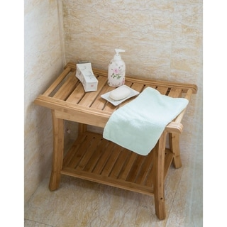 beach chair bathroom accessories best wooden high find great bath towels deals shopping kinbor bamboo shower bench stool spa seat w storage shelf