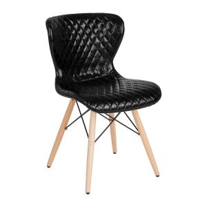 Offex Contemporary Upholstered Accent Side Chair with Wooden Legs in Black Vinyl