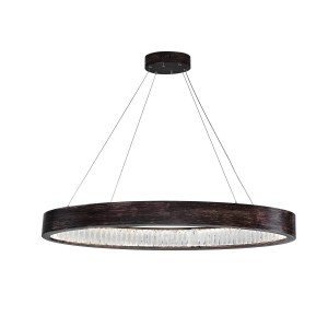 Rosalina Collection Wood Grain Brown Finish Stainless Steel LED Chandelier
