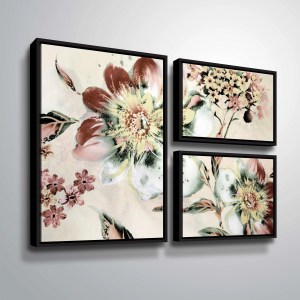ArtWall 'Summer Flower' 3 Piece Floater Framed Canvas Flag Set