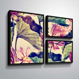 ArtWall 'Water Lily' 3 Piece Floater Framed Canvas Flag Set