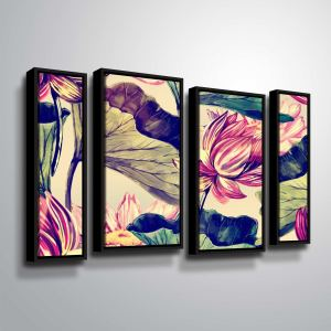 ArtWall 'Water Lily' 4 Piece Floater Framed Canvas Staggered Set