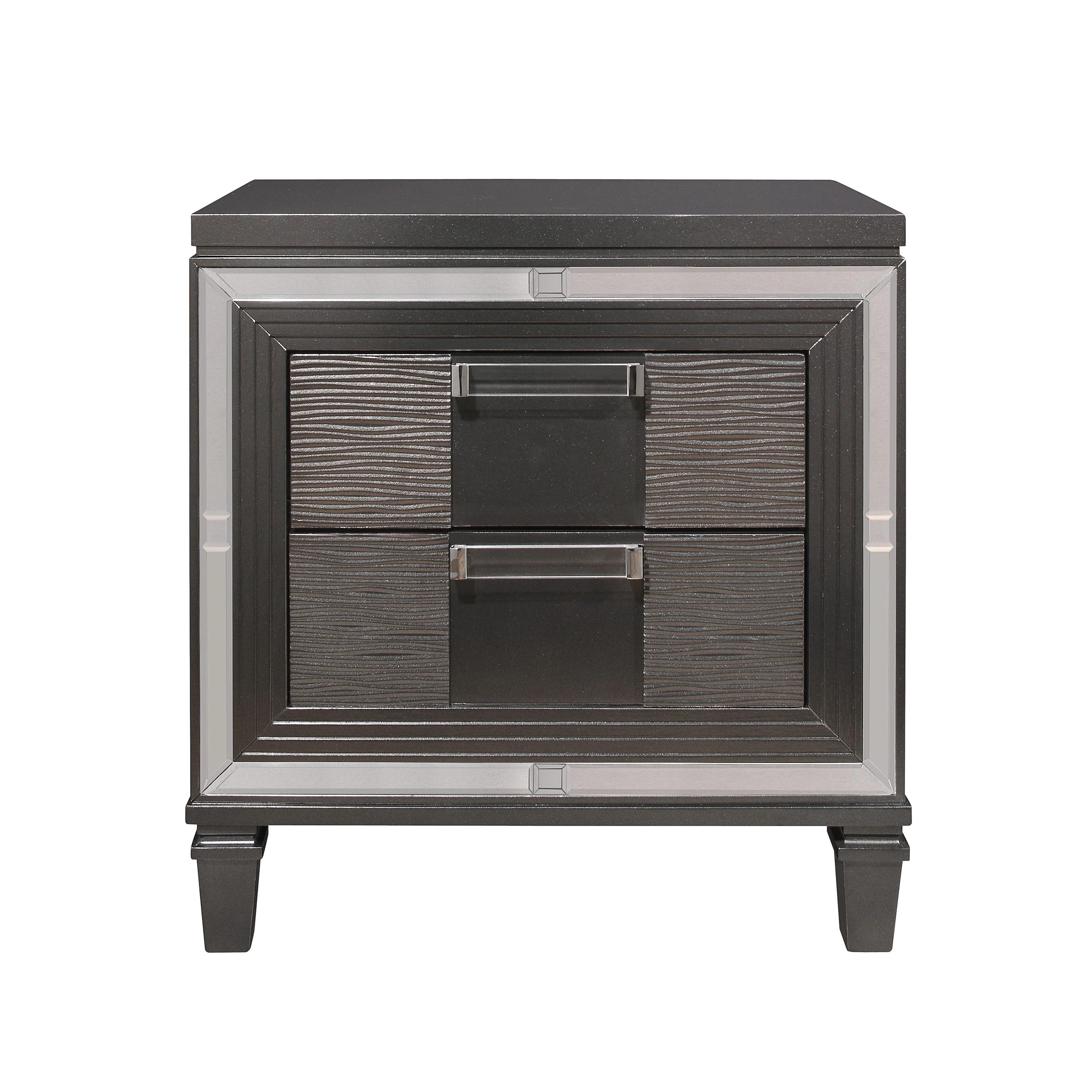 Global Furniture Palermo Metallic Grey Wood Nightstand