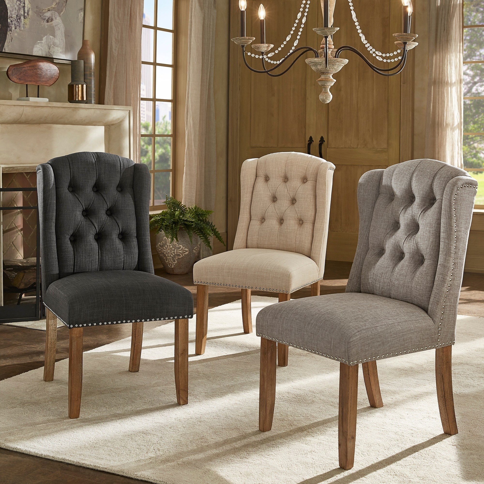 tufted wingback dining chair swingasan hanging chairs with casters