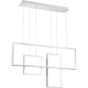 Brisco Brushed Aluminum LED Light Island Chandelier - Silver