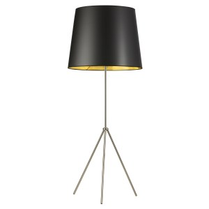 Dainolite Satin Chrome Metal 1-light 3-leg Drum Floor Fixture With Black and Goldtone Shade