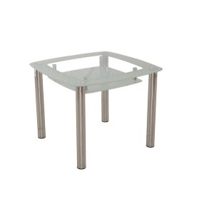 New Spec Square Double Shelf Glass Dining Table - Silver