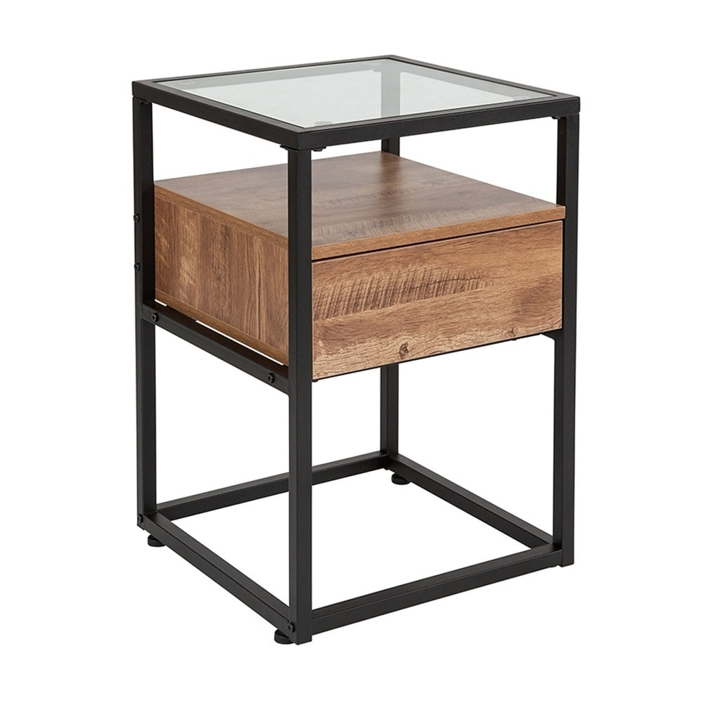 Offex Ultra Modern Contemporary Glass End Table with Drawer and Shelf in Rustic Wood Grain Finish