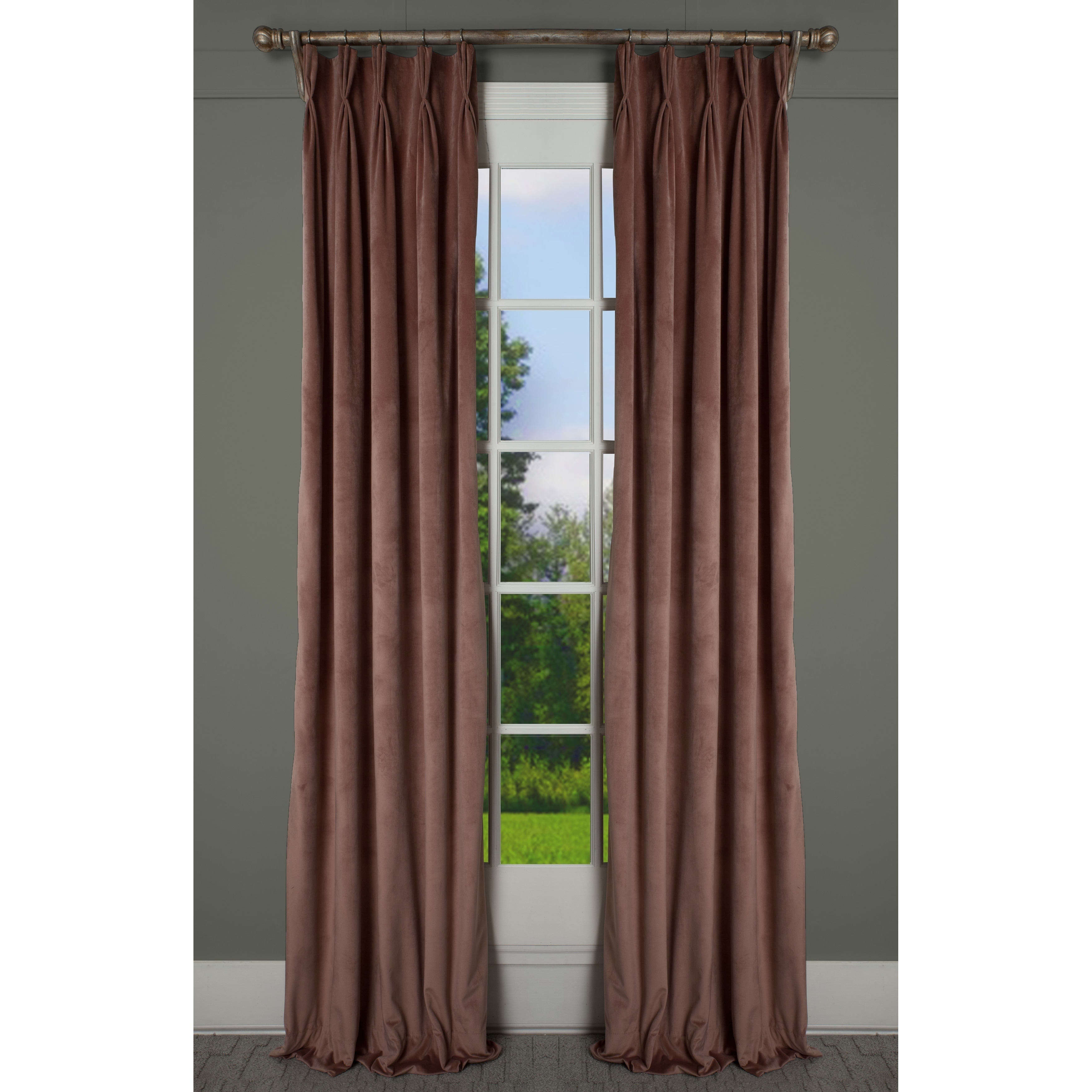 milan coral blush luxurious velvet 24 inch wide pinch pleat lined curtain panel
