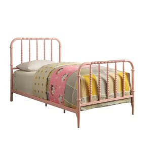 Metal Twin Bed with Beaded Design Headboard And Footboard, Pink
