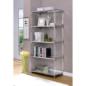 Four Tier Glass Shelf with Metal Frame and Acrylic Accent, Silver and Clear