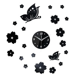 Fashionable Crystal 3D Mirror Wall Clock Stickers Home Decor