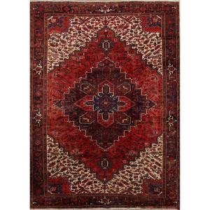 "Geometric Hand Made Wool Geometric Heriz Persian Area Rug Vintage - 13'2"" x 9'8"""