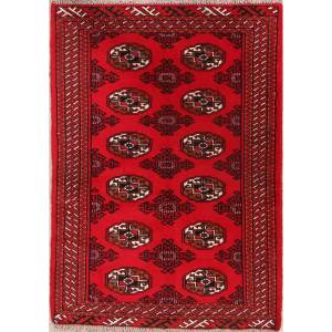 """Traditional Foyer Size Balouch Bokara Hand Knotted Persian Area Rug - 4'7"""" x 3'3"""""""