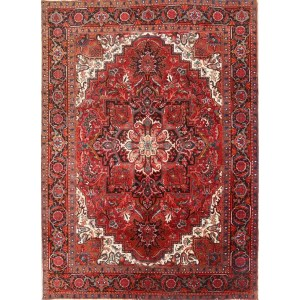 "Hand Knotted Wool Vintage Traditional Geometric Heriz Persian Area Rug - 9'6"" x 6'10"""