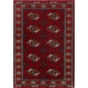 """Traditional Hand Knotted Foyer Size Balouch Bokara Persian Area Rug - 4'10"""" x 3'4"""""""