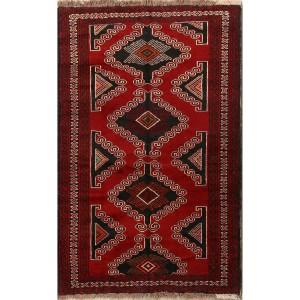 "Hand Made Geometric Tribal Foyer Size Balouch Persian Area Rug - 6'9"" x 4'3"""