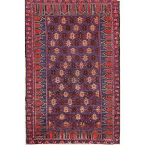"""Antique Hand Made Geometric Tribal Foyer Size Balouch Persian Area Rug - 5'2"""" x 3'3"""""""