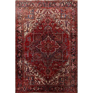 "Vintage Classical Hadn Knotted Geometric Heriz Persian Area Rug Wool - 11'0"" x 7'7"""