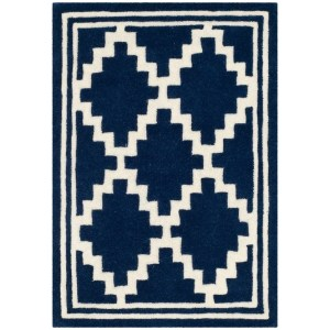Safavieh Hand-Tufted Chatham Modern & Contemporary Navy / Ivory Wool Rug (2' x 3')