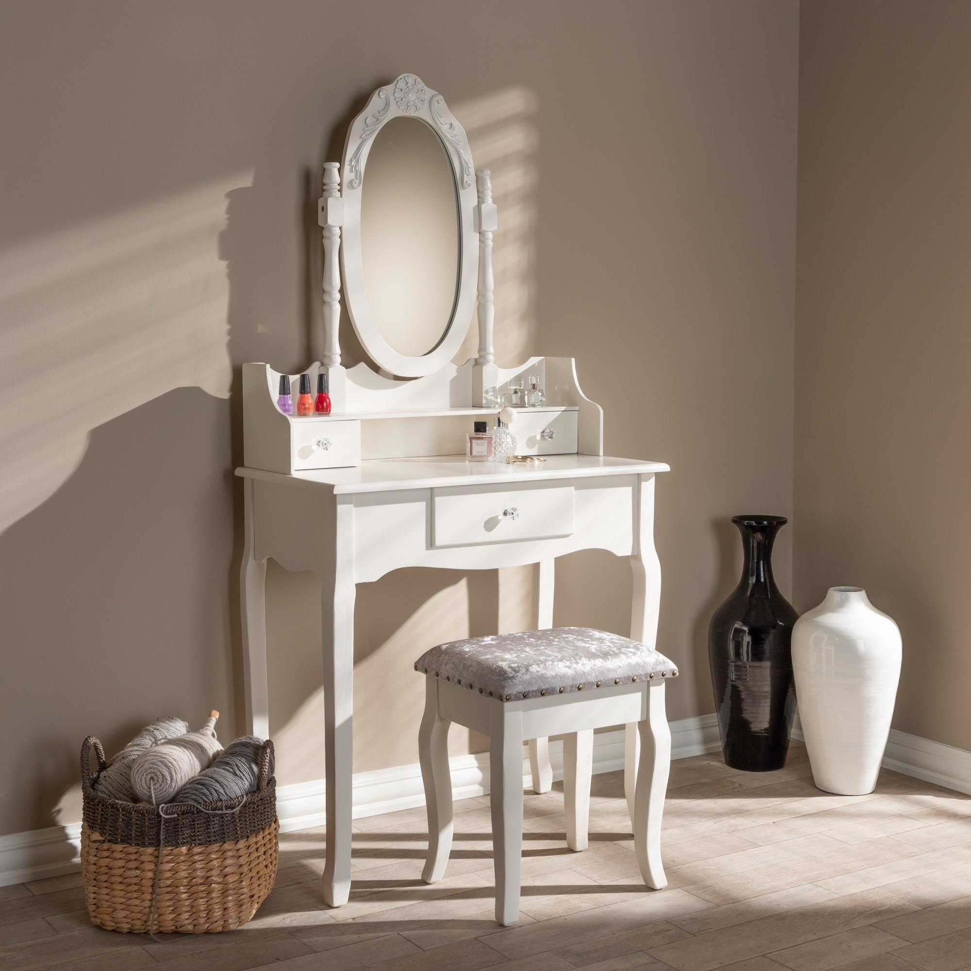 french country 2 piece vanity table and ottoman set