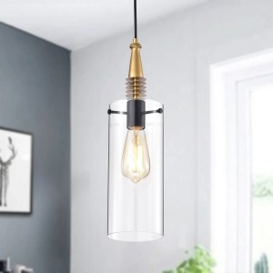 Flamur Gold 1-Light Pendant with Clear Glass Shade