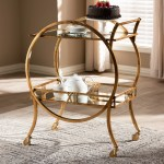 Contemporary Antique Gold 2 Tier Mobile Bar Cart On Sale Overstock 25659404