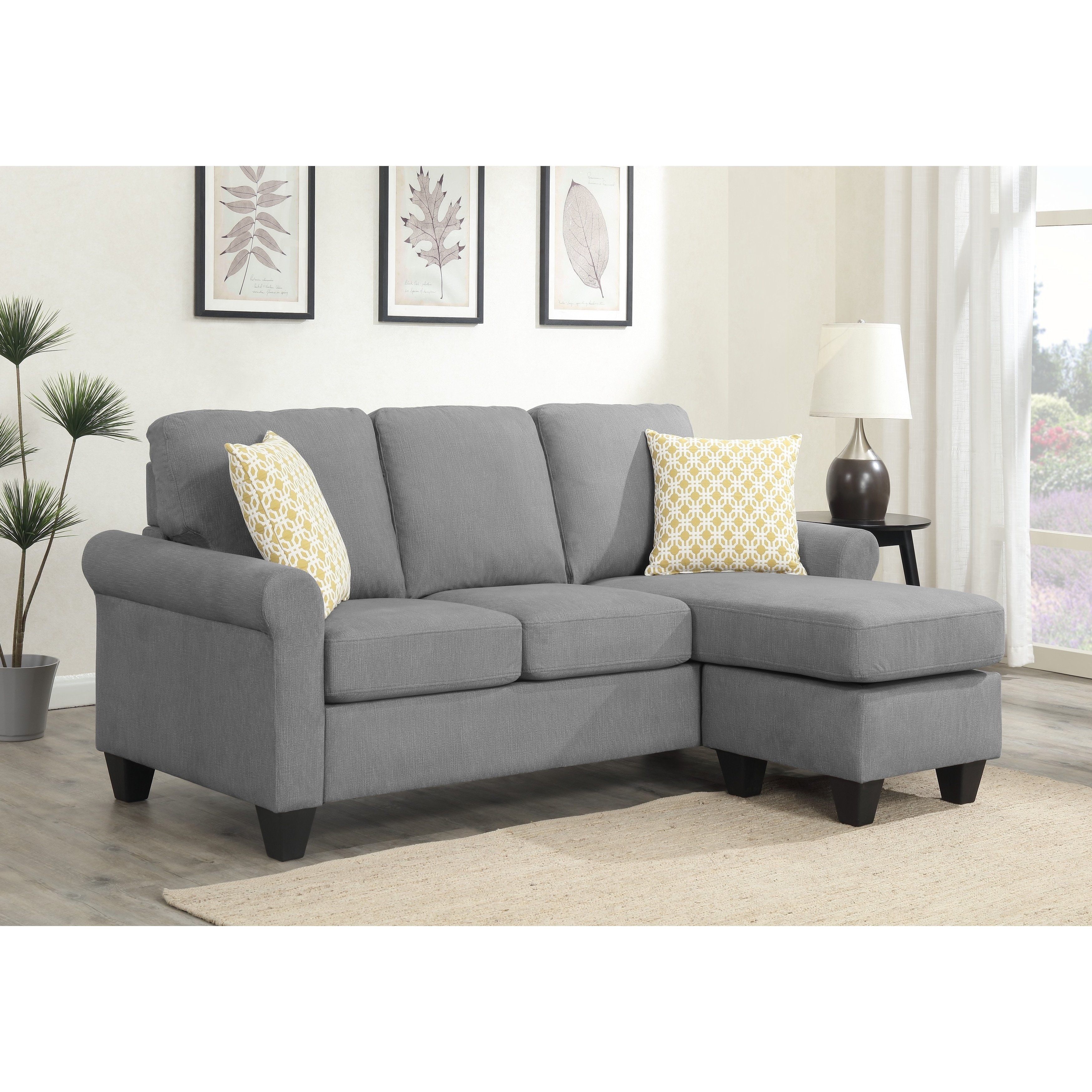 emerald home claudette soft gray reversible sectional with pillows reconfigurable sectional to sofa with ottoman