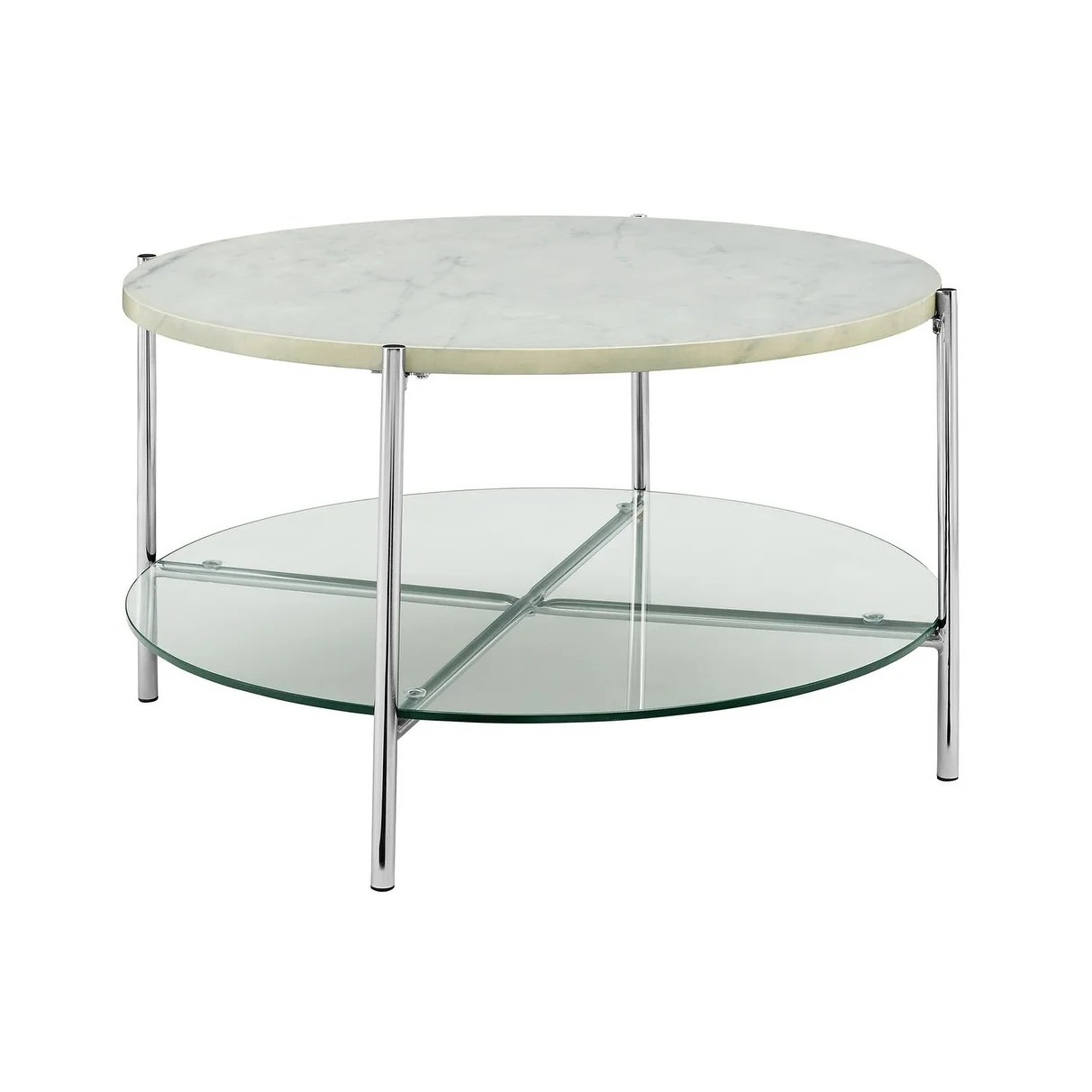"""Offex 32"""" Mid Century Modern Round Coffee Table with White Marble Top, Glass Shelf and Chrome Legs"""