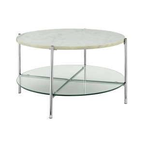 "Offex 32"" Mid Century Modern Round Coffee Table with White Marble Top, Glass Shelf and Chrome Legs"