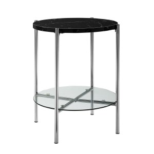 "Offex 20"" Round Side Table with Black Marble Top, Glass Shelf and Chrome Legs"