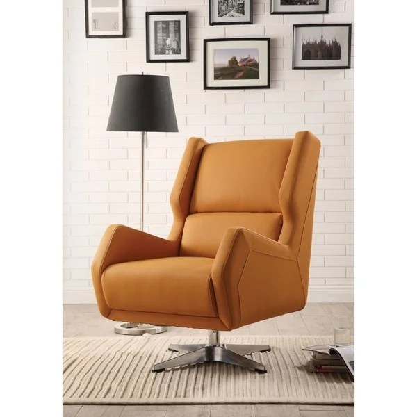 orange upholstered chair children s beach with umbrella shoulder straps shop faux leather swivel accent metal base on sale free shipping today overstock com 25681855