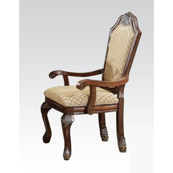 upholstered chairs with wooden arms folding chair deals shop traditional style brown fabric upholstery arm set of 2 free shipping today overstock com 25681864