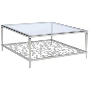 Metal Frame Coffee Table with Glass Top and Geometric shelf,  Silver and Clear