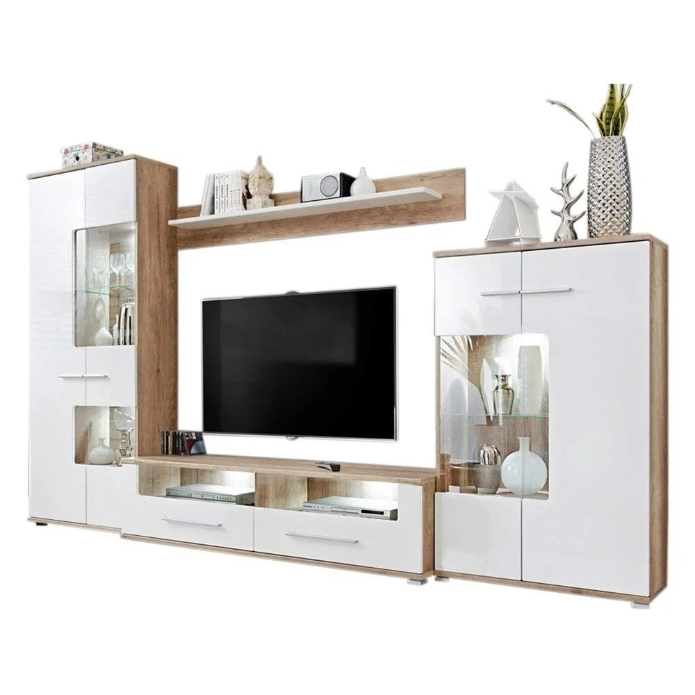 Shop Caverly Modern Entertainment Center Tv Stand Wall Unit With Led Lights Oak And High Gloss White Overstock 25686431