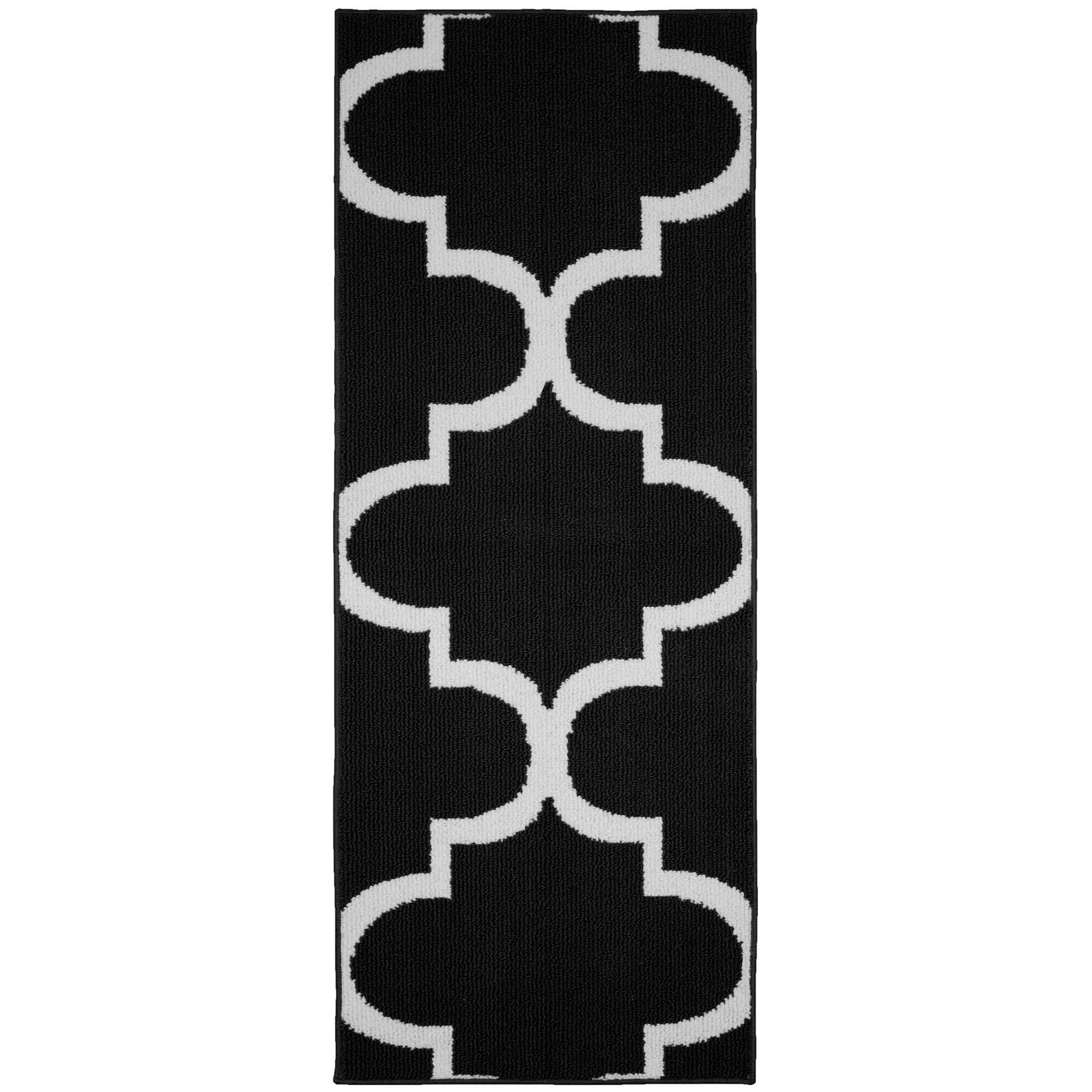 Quatrefoil Black White Living Room Area Rug Runner