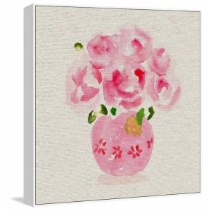 'Pink Floral Vase II' Floater Framed Painting Print on Canvas - Multi-color