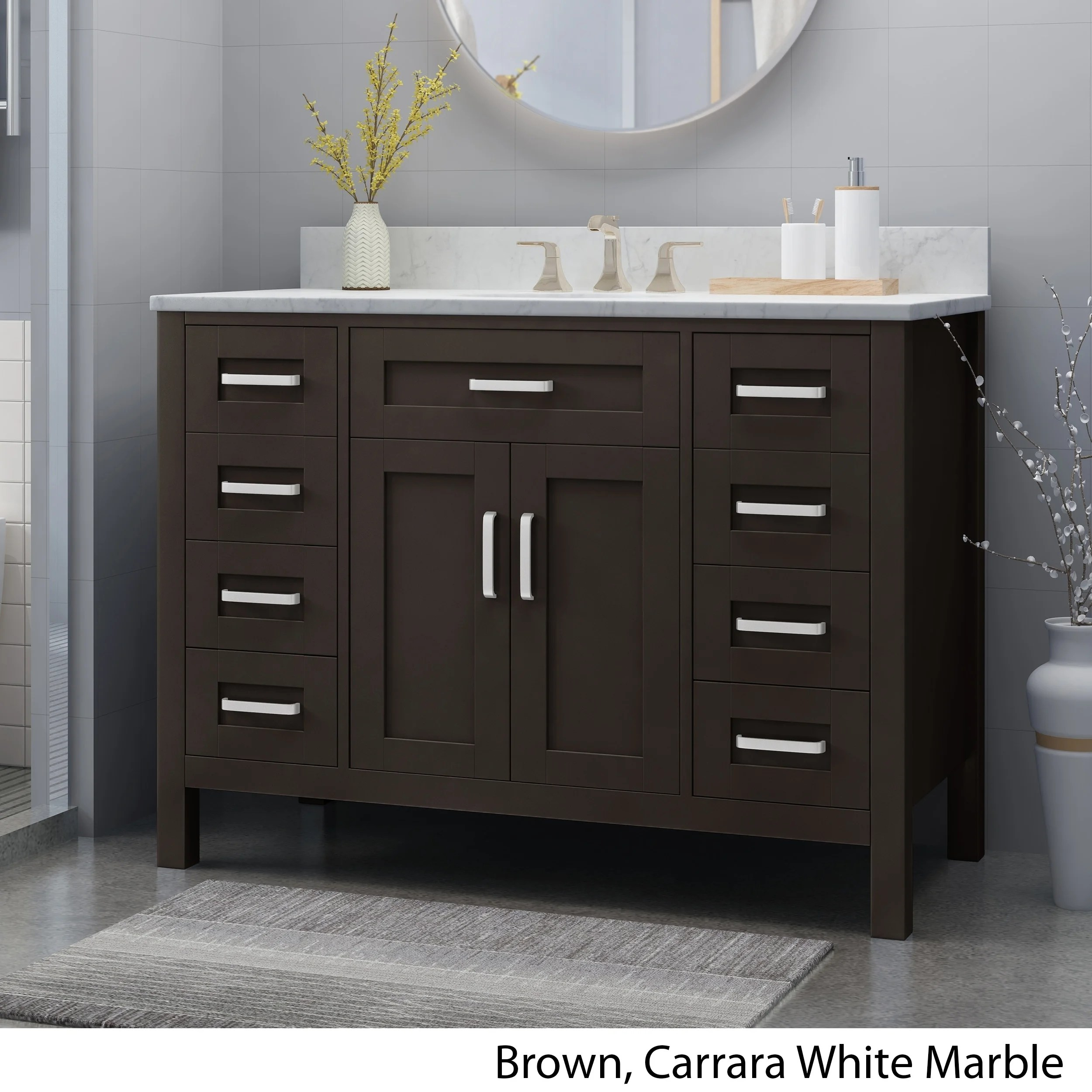 Shop Greeley Contemporary 48 Wood Single Sink Bathroom Vanity With Carrera Marble Top By Christopher Knight Home Overstock 25716175