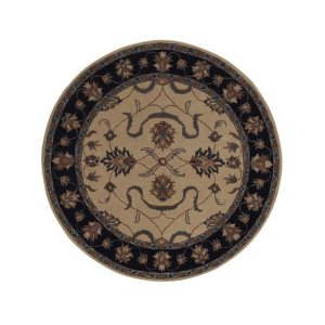 """Hand-Tufted Floral Oushak Agra Oriental Area Rug from India - 8'0"""" round"""