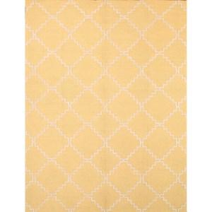 """Hand Made Trellis Indoor/Outdoor Oriental Area Rug Yellow Carpet - 9'1"""" x 11'9"""""""