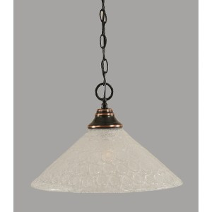 """Toltec 1 Light Pendant Shown In Black Copper Finish with 16"""" Glass Shade"""