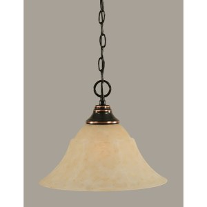 Toltec 1-light Black Copper Finish Steel Pendant With 14-inch Glass Shade