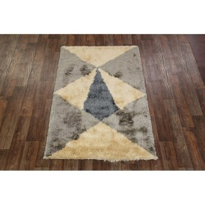 "Shaggy Shag Hand Tufted Eastern Area Rug Grey Carpet - 8'1"" x 5'2"""