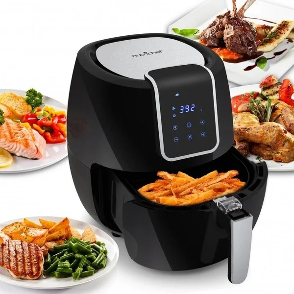 kitchen air cabinet organizing ideas shop nutrichef pkairfr65 digital fryer electric oil free frying with non stick