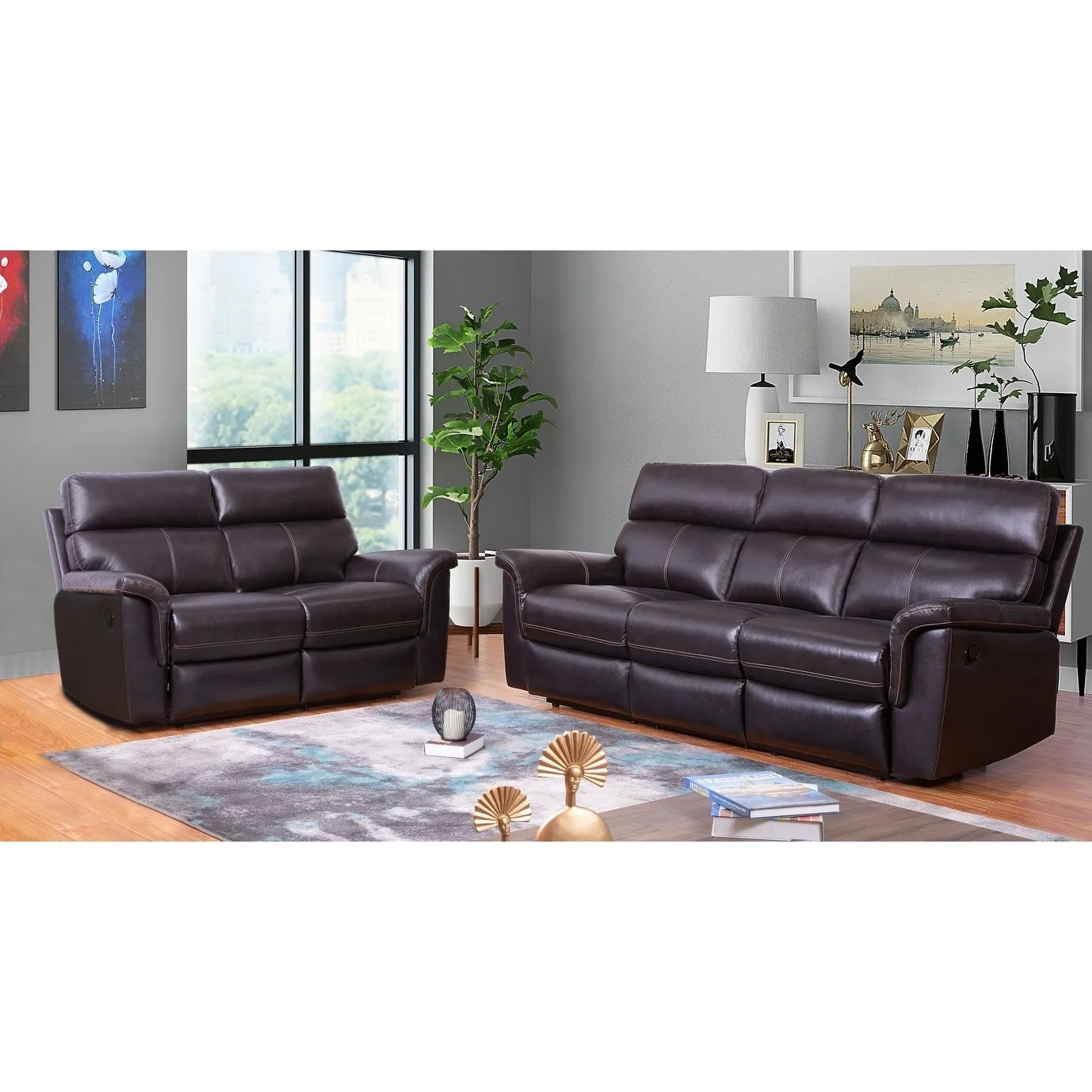 Abbyson Wellington Brown Top Grain Leather Reclining Sofa And Loveseat Set