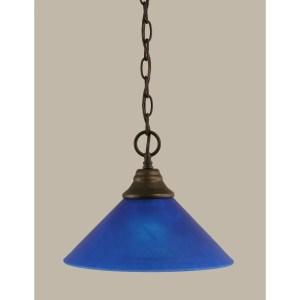 Toltec 1-light Bronze Finish Steel Pendant With Glass Shade