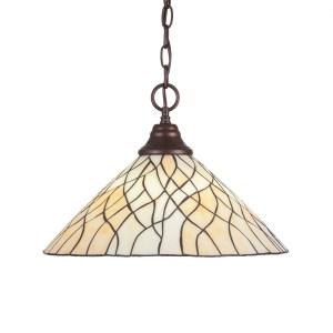 Toltec 1-light Bronze Finish Steel Pendant With Tiffany Glass Shade