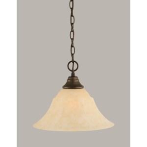 Toltec Bronze Finish Steel 1-Light Pendant With Glass Shade