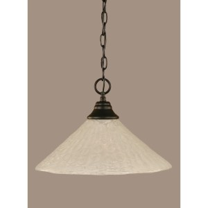 Toltec 1-light Matte Black Finish Steel Pendant With Glass Shade